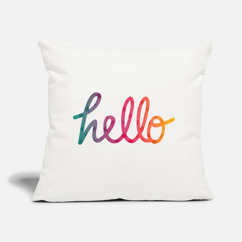Bestseller Pillow cases - Hello Typography rainbow - Pillow Case natural white