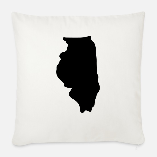 Illinois T-shirt Pillow Cases - State of Illinois - Pillowcase 17,3'' x 17,3'' (45 x 45 cm) natural white