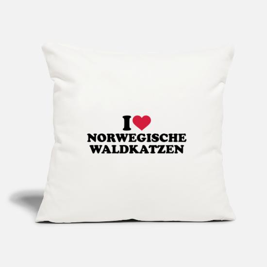 Love Pillow Cases - Norwegian forest cat - Pillowcase 17,3'' x 17,3'' (45 x 45 cm) natural white