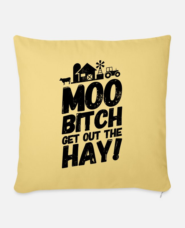Cool Quote Pillow Cases - Farmer farmer agriculture sayings Muh - Pillowcase 17,3'' x 17,3'' (45 x 45 cm) washed yellow