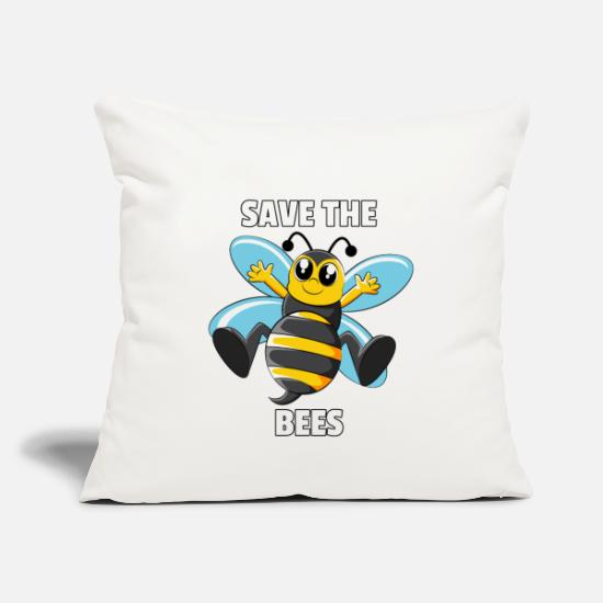Bee Pillow Cases - Bee Bees Honey Honey Bee Save Gift - Pillowcase 17,3'' x 17,3'' (45 x 45 cm) natural white
