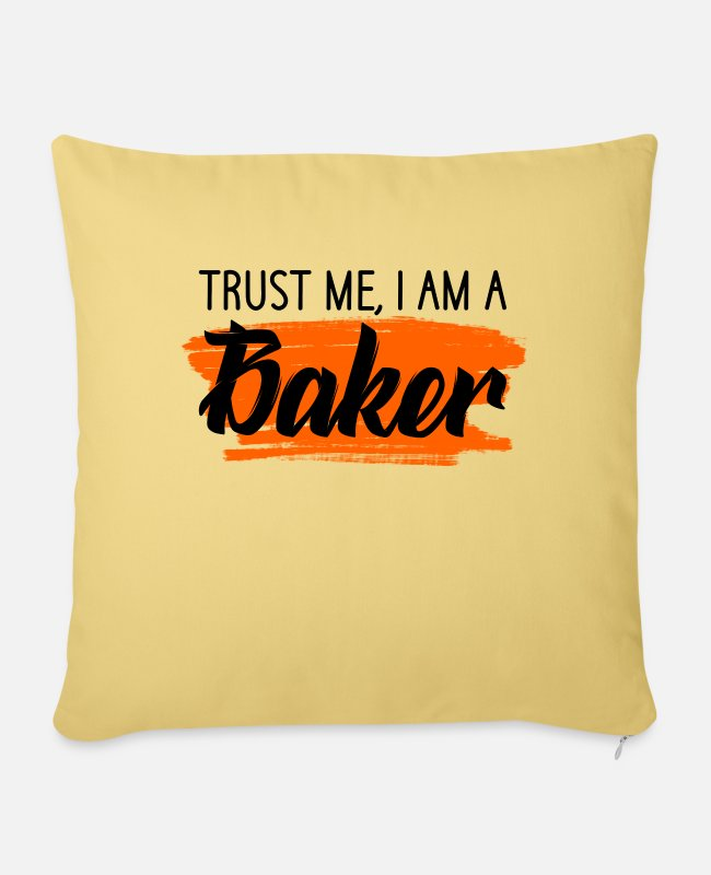 Hobby Baker Baking Lover Pillow Cases - trust me i am a baker - Pillowcase 17,3'' x 17,3'' (45 x 45 cm) washed yellow