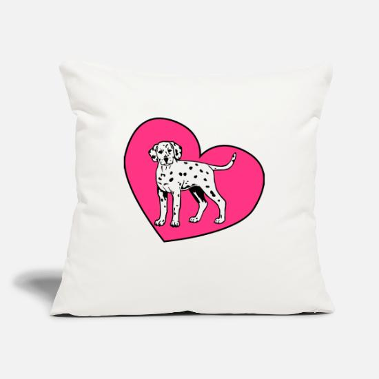 Puppy Pillow Cases - Dalmatian Puppy Dog with Heart - Pillowcase 17,3'' x 17,3'' (45 x 45 cm) natural white