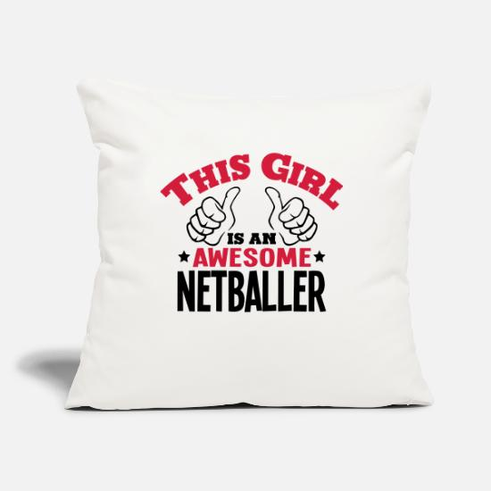 Netball Pillow Cases - this girl is an awesome netballer 2col - Pillowcase 17,3'' x 17,3'' (45 x 45 cm) natural white