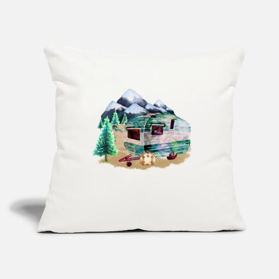 Camping Pillow Cases - Watercolor Caravan - Pillowcase 17,3'' x 17,3'' (45 x 45 cm) natural white