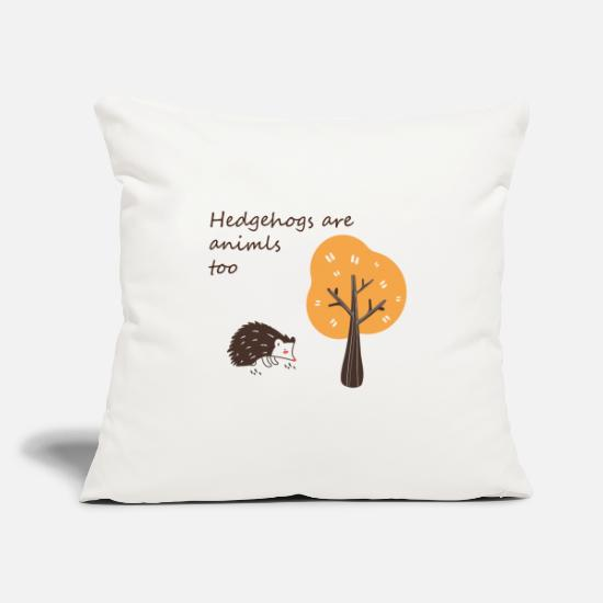 Gift Idea Pillow Cases - Hedgehog is looking for food in autumn - Pillowcase 17,3'' x 17,3'' (45 x 45 cm) natural white