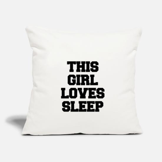 Gift Idea Pillow Cases - THIS GIRL LOVES SLEEP - Pillowcase 17,3'' x 17,3'' (45 x 45 cm) natural white