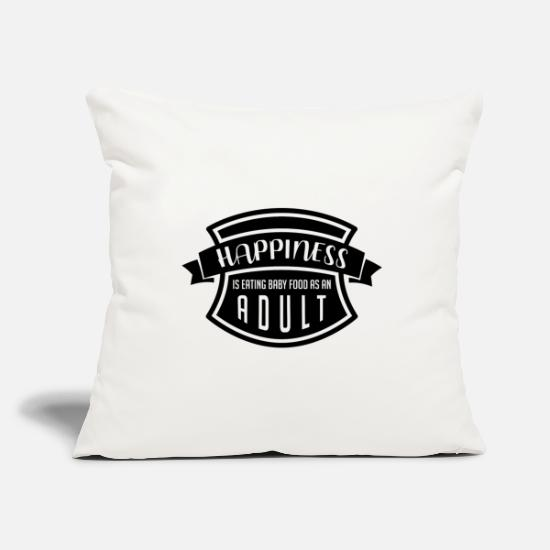 Luck Pillow Cases - Happiness is eating baby food to eat black funny - Pillowcase 17,3'' x 17,3'' (45 x 45 cm) natural white