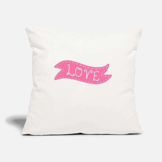 Love Pillow Cases - Love banner - Pillowcase 17,3'' x 17,3'' (45 x 45 cm) natural white