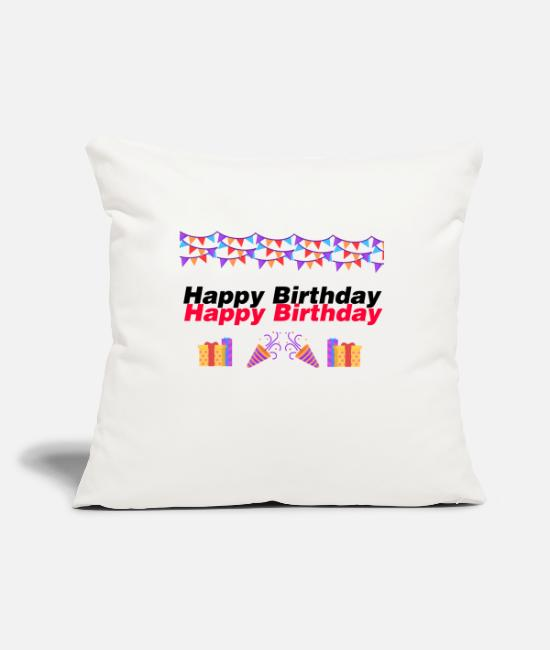 Rugby Pillow Cases - happy Birthday - Pillowcase 17,3'' x 17,3'' (45 x 45 cm) natural white