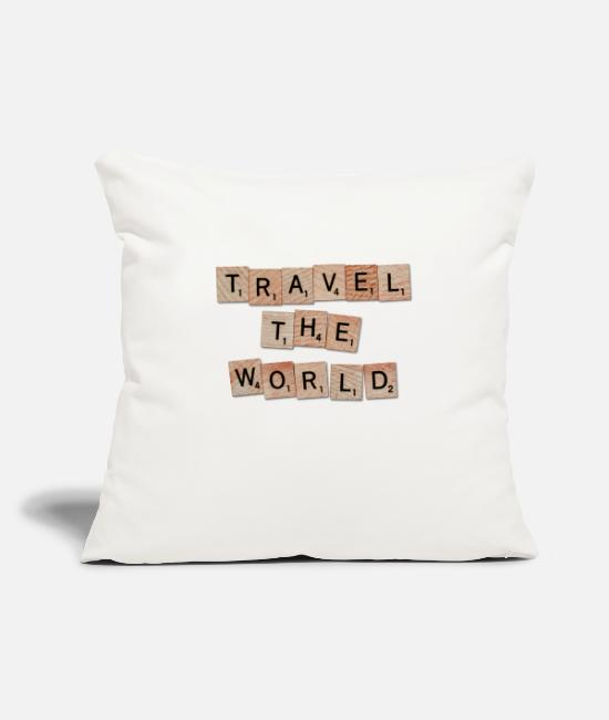 Travel Bug Pillow Cases - TRAVEL THE WORLD saying shirt - Pillowcase 17,3'' x 17,3'' (45 x 45 cm) natural white