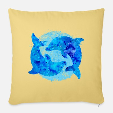 Dolphins (water colors) - Pillowcase 17,3'' x 17,3'' (45 x 45 cm)