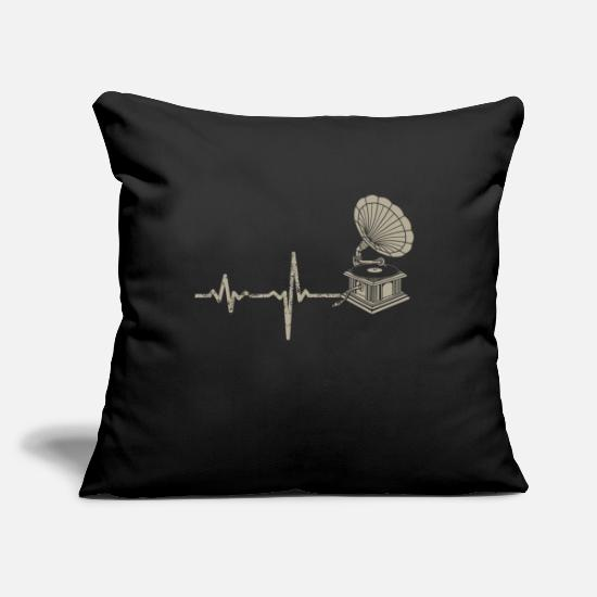 Birthday Pillow Cases - Gift Heartbeat Gramophone Gramophone - Pillowcase 17,3'' x 17,3'' (45 x 45 cm) black