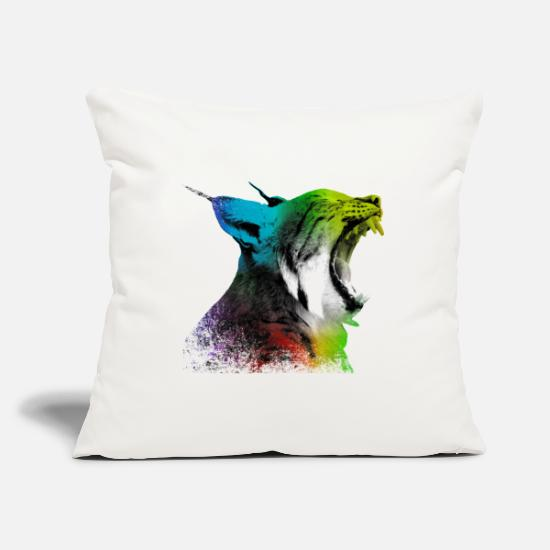 Forest Pillow Cases - Yawning lynx - Pillowcase 17,3'' x 17,3'' (45 x 45 cm) natural white