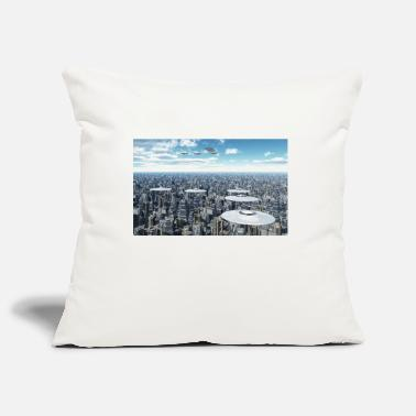 Megacity Flying saucers over a megacity - Pillowcase 17,3'' x 17,3'' (45 x 45 cm)