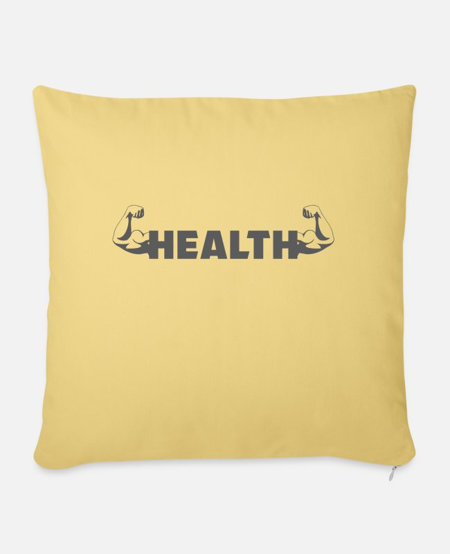 Boxing Match Pillow Cases - Gym - Bicep - Helath - Pillowcase 17,3'' x 17,3'' (45 x 45 cm) washed yellow