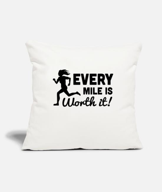 Walk Pillow Cases - Every Mile is Worth It! - Pillowcase 17,3'' x 17,3'' (45 x 45 cm) natural white