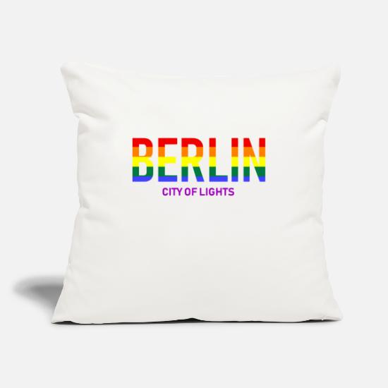 Berlino Copricuscini - Berlino - Rainbow - Gay LGBT City of Lights Homo - Copricuscino bianco naturale
