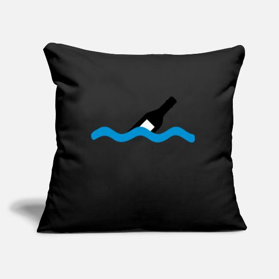 Pirate Pillow Cases - message in a bottle - Pillowcase 17,3'' x 17,3'' (45 x 45 cm) black