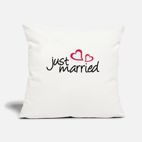 Wedding Pillow Cases - two hearts - Pillowcase 17,3'' x 17,3'' (45 x 45 cm) natural white
