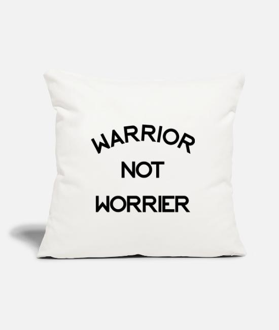 Martial Arts Pillow Cases - Warrior Not Worrier Graphic - Pillowcase 17,3'' x 17,3'' (45 x 45 cm) natural white