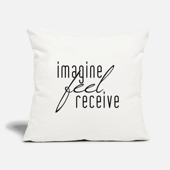 Yogi Pillow Cases - IMAGINE FEEL RECEIVE GIFT Positive thinking - Pillowcase 17,3'' x 17,3'' (45 x 45 cm) natural white