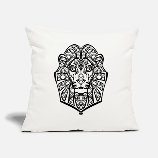 White Pillow Cases - Henna lion - Pillowcase 17,3'' x 17,3'' (45 x 45 cm) natural white
