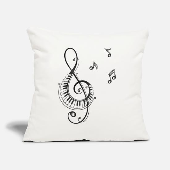 Music Pillow Cases - Clef with piano and music notes, i love music. - Pillowcase 17,3'' x 17,3'' (45 x 45 cm) natural white