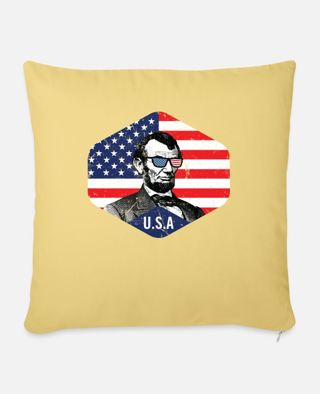 Usa Flag Pillow Cases - Abe Lincoln American Flag Patriotic July 4th - Pillowcase 17,3'' x 17,3'' (45 x 45 cm) washed yellow