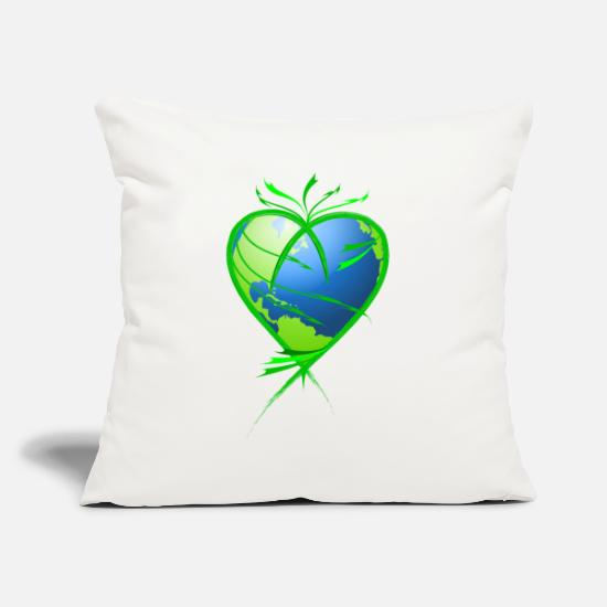Forest Pillow Cases - I love our green earth - Pillowcase 17,3'' x 17,3'' (45 x 45 cm) natural white