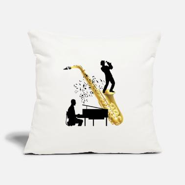 Piano playing with saxophone - Pillowcase 17,3'' x 17,3'' (45 x 45 cm)