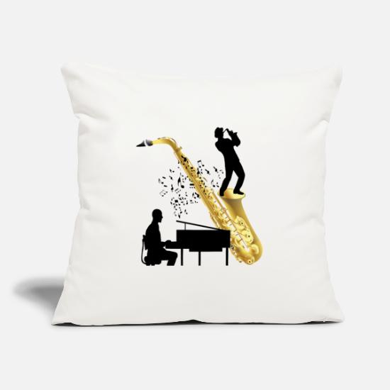 Song Pillow Cases - Piano playing with saxophone - Pillowcase 17,3'' x 17,3'' (45 x 45 cm) natural white