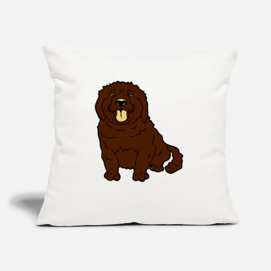 Small Pillow Cases - sweet little brown sitting dog - Pillowcase 17,3'' x 17,3'' (45 x 45 cm) natural white