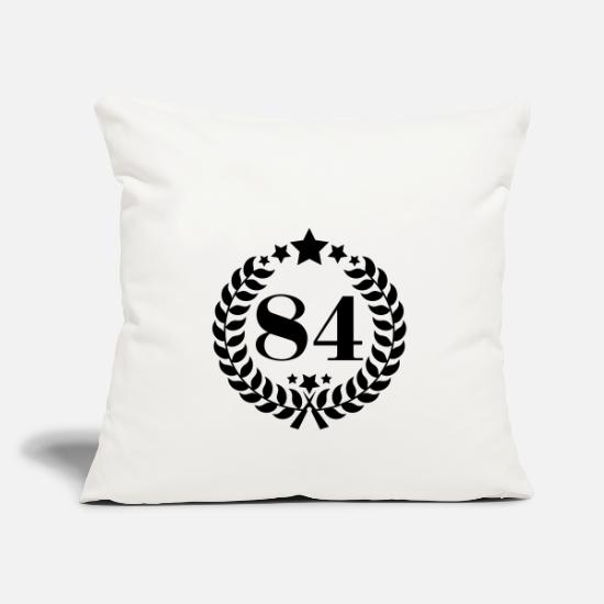 Age Pillow Cases - 84th birthday wreath number 84 vintage age - Pillowcase 17,3'' x 17,3'' (45 x 45 cm) natural white