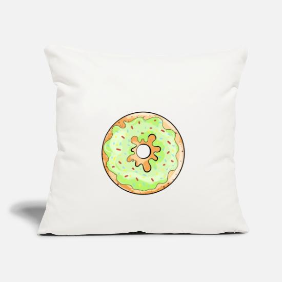 Love Pillow Cases - Delicious donut with green frosting cartoon gift - Pillowcase 17,3'' x 17,3'' (45 x 45 cm) natural white