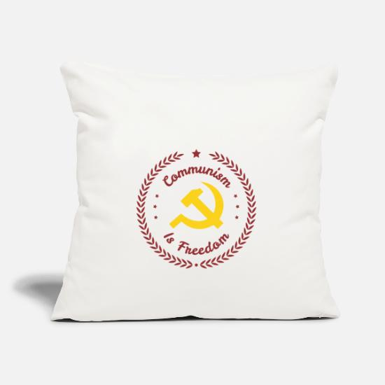 Communist Pillow Cases - Badge Communism is freedom - Pillowcase 17,3'' x 17,3'' (45 x 45 cm) natural white