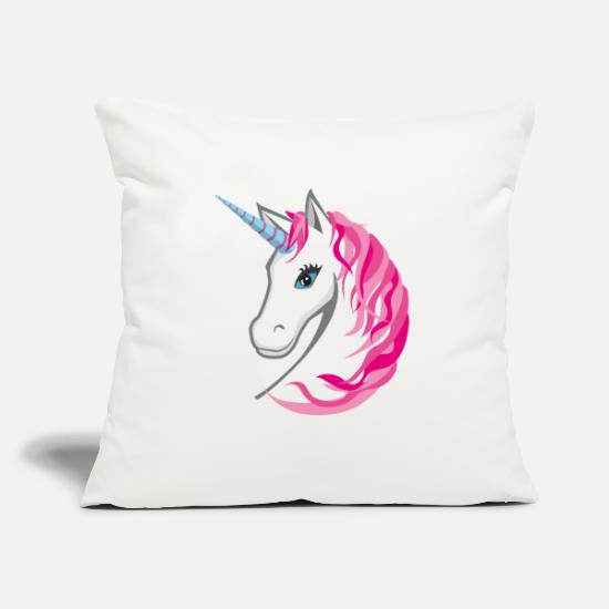 Boss Pillow Cases - Unicorn pink / head with pink mane - Pillowcase 17,3'' x 17,3'' (45 x 45 cm) natural white