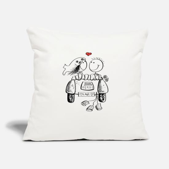 Funny Pillow Cases - Wedding car with in love wedding couple - Pillowcase 17,3'' x 17,3'' (45 x 45 cm) natural white