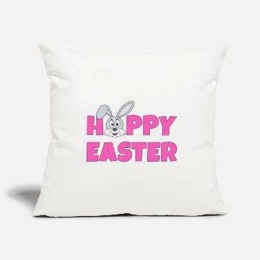 Osterhase Hoppy Easter pink mit Bunny Hase grau - Kissenhülle