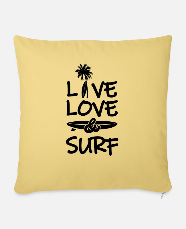 Surfer Girl Pillow Cases - 115 Live long surf - Pillowcase 17,3'' x 17,3'' (45 x 45 cm) washed yellow