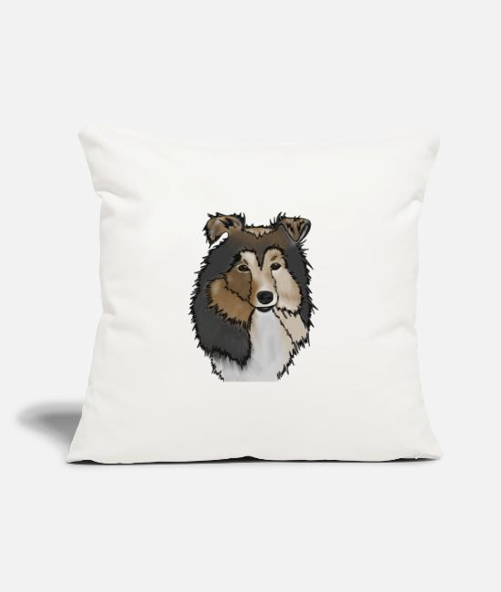 Rough Collie Pillow Cases - Longhair Collie Mama | Collie Rough Collies - Pillowcase 17,3'' x 17,3'' (45 x 45 cm) natural white