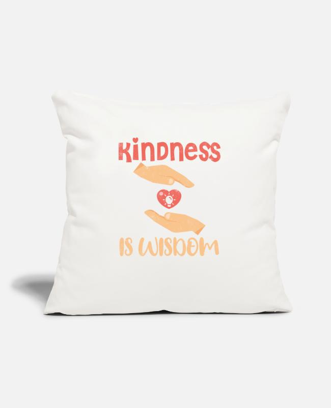 Nature Pillow Cases - Kindness is wisdom - Pillowcase 17,3'' x 17,3'' (45 x 45 cm) natural white