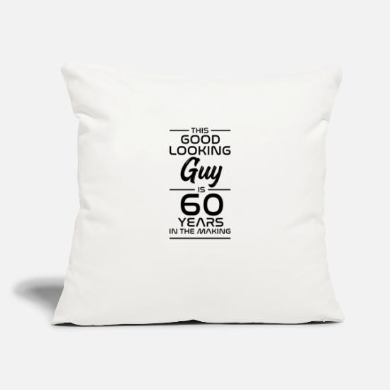 Birthday Pillow Cases - Gift for 60th birthday gift idea 60 years - Pillowcase 17,3'' x 17,3'' (45 x 45 cm) natural white