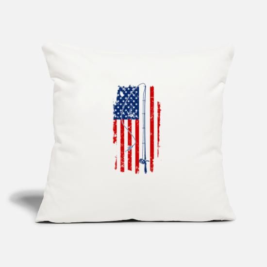 Gift Idea Pillow Cases - USA fishing rod - Pillowcase 17,3'' x 17,3'' (45 x 45 cm) natural white