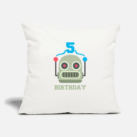Birthday Pillow Cases - Kids birthday 5 year robot birthday party - Pillowcase 17,3'' x 17,3'' (45 x 45 cm) natural white
