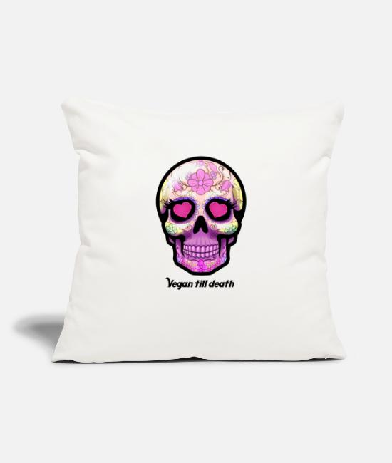 Nature Pillow Cases - Sugarskull skull death heart sugar head vegan - Pillowcase 17,3'' x 17,3'' (45 x 45 cm) natural white