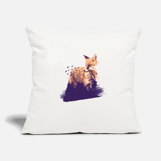 Fox Pillow Cases - Fox forest and flock of birds gift idea - Pillowcase 17,3'' x 17,3'' (45 x 45 cm) natural white