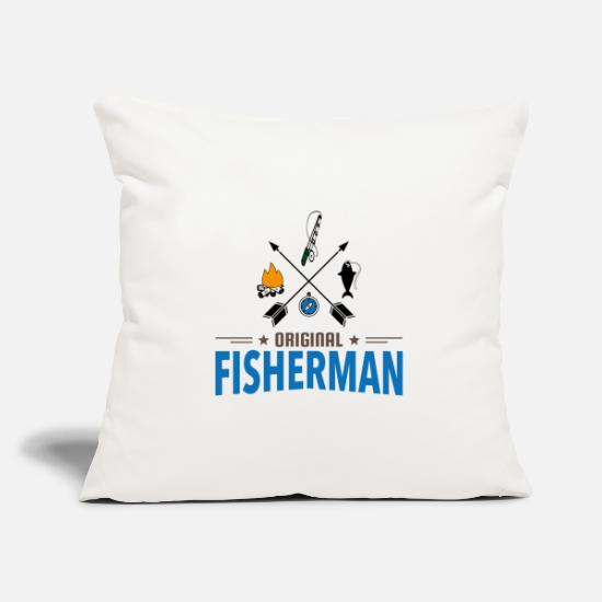 Fish Hook Pillow Cases - Sport fishing - Pillowcase 17,3'' x 17,3'' (45 x 45 cm) natural white