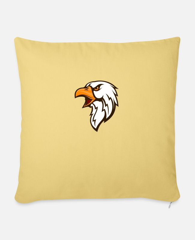 Drawing Pillow Cases - Eagle graphic art - Pillowcase 17,3'' x 17,3'' (45 x 45 cm) washed yellow