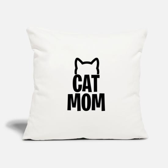 Gift Idea Pillow Cases - Cat Mom - Cats mother - Pillowcase 17,3'' x 17,3'' (45 x 45 cm) natural white